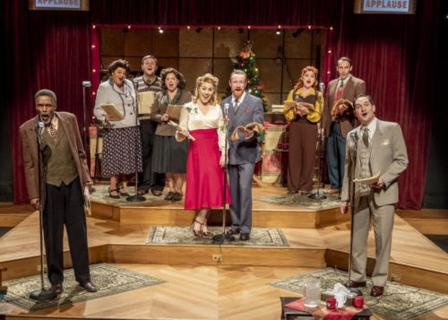 Left to Right: William Hall Jr., Rebecca Davis, Andrew Davison, Jenny Cross, Chelsea Levalley, Calder Shilling, Claire Marx, Kevin Pitman, Richard Sloniker in The Bishop's Wife. Photo by Erik Stuhaug.